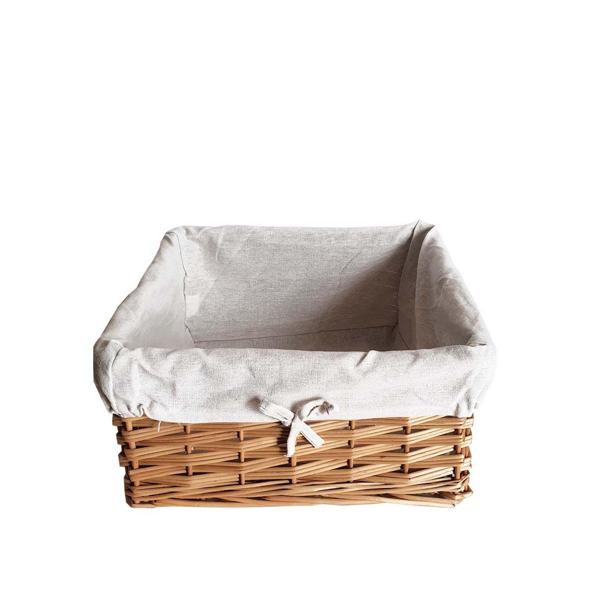 Panier de rangement carré en osier avec tissu - 35 x 35