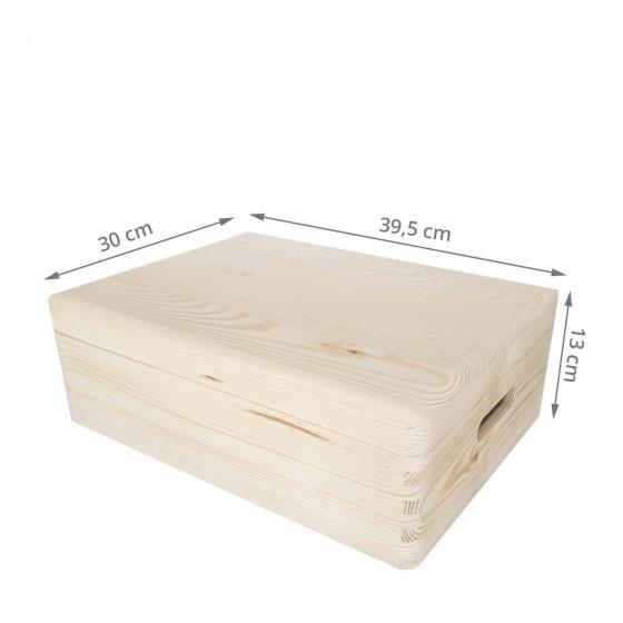 Boîte de rangement en pin FSC avec couvercle M