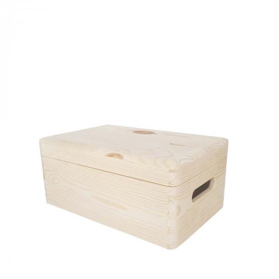 Boîte de rangement en pin FSC avec couvercle S