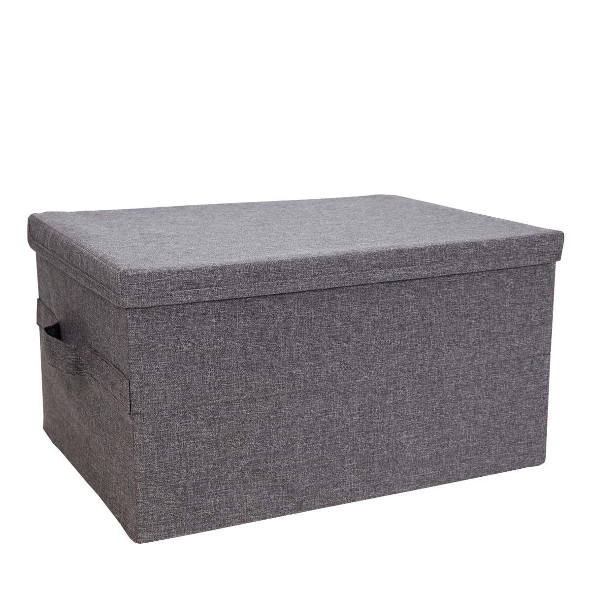 Boîte de rangement en tissu gris rigide et pliable avec couvercle- 25x35x45