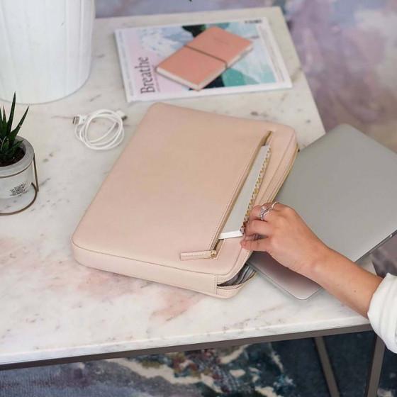 Housse pour ordinateur 13 pouces en simili cuir rose poudré