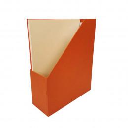 Range documents en carton blanc et papier laminé terracotta et porte étiquette