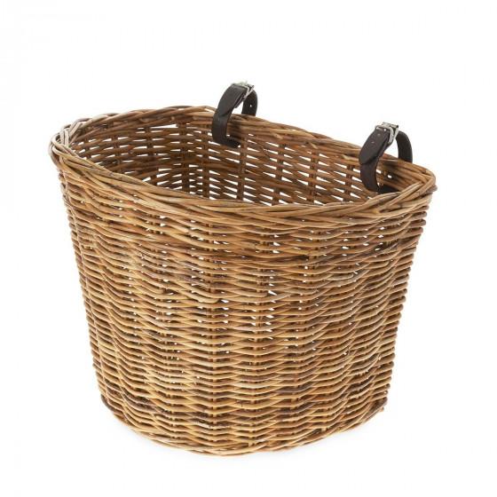 Panier à vélo en osier avec courroies