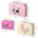 Set de 3 valisettes en carton rose