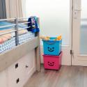 Bac à roulettes empilable en plastique bleu pour enfants