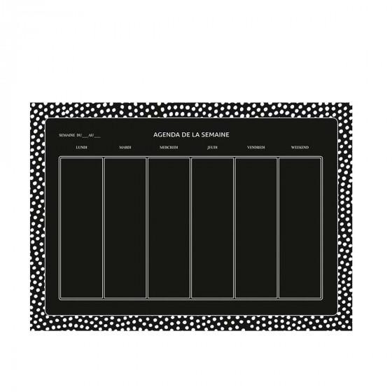 Feuilles adhésives noires avec planning mensuel et hebdomadaire