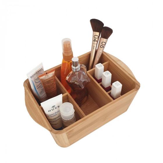 Bac de rangement maquillage à compartiments en bambou