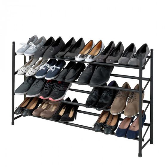 Étagère à chaussures noire à 4 niveaux extensible et superposable