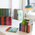 3 boîtes de rangement colorées en métal