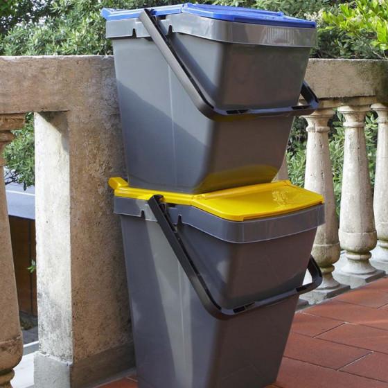 Poubelle de tri sélectif jaune 30 litres