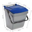 Poubelle de tri sélectif bleue 35 litres