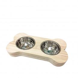 Double gamelle pour chien en bois