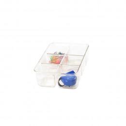 Organisateur de tiroirs à 6 compartiments en plastique transparent