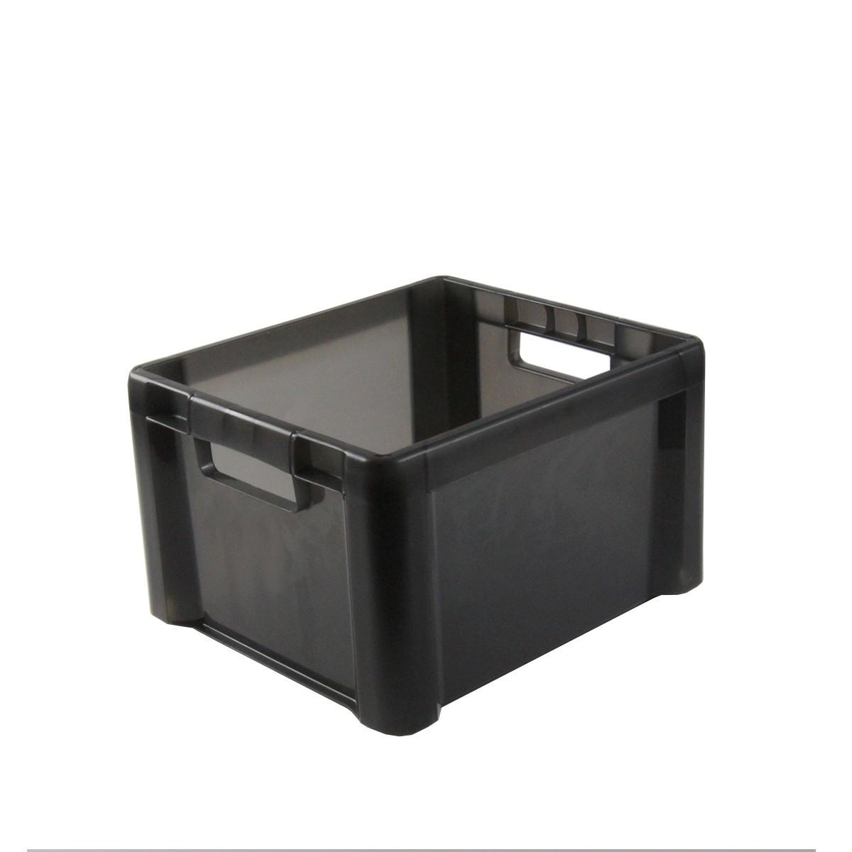 caisse empilable en plastique gris 28 litres. Black Bedroom Furniture Sets. Home Design Ideas