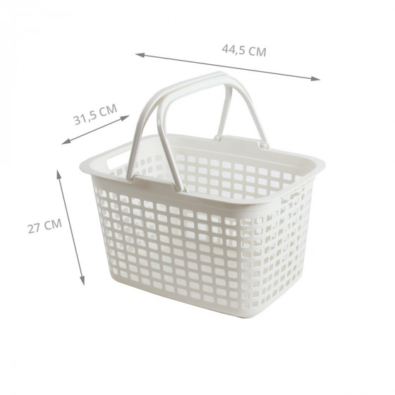 Panier rectangulaire en plastique blanc avec 2 grandes anses. 25 Litres