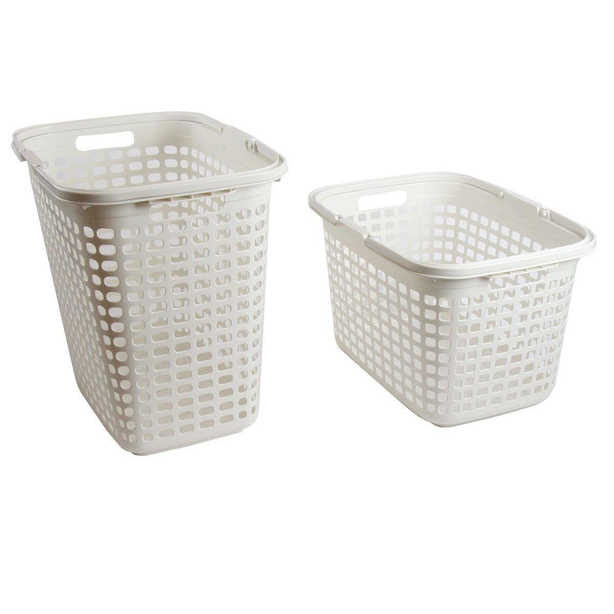 panier linge en plastique blanc 36 litres. Black Bedroom Furniture Sets. Home Design Ideas