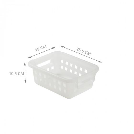 Panier rectangulaire en plastique blanc translucide. 4,5 litres