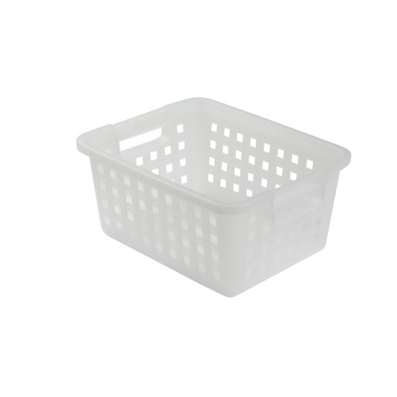 Panier rectangulaire en plastique blanc translucide. 11,6 litres