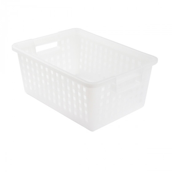 Panier rectangulaire en plastique blanc translucide. 25 litres