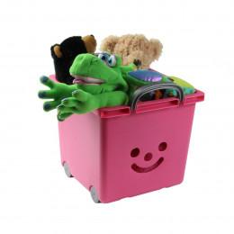 Bac à roulettes empilable en plastique rose pour enfants