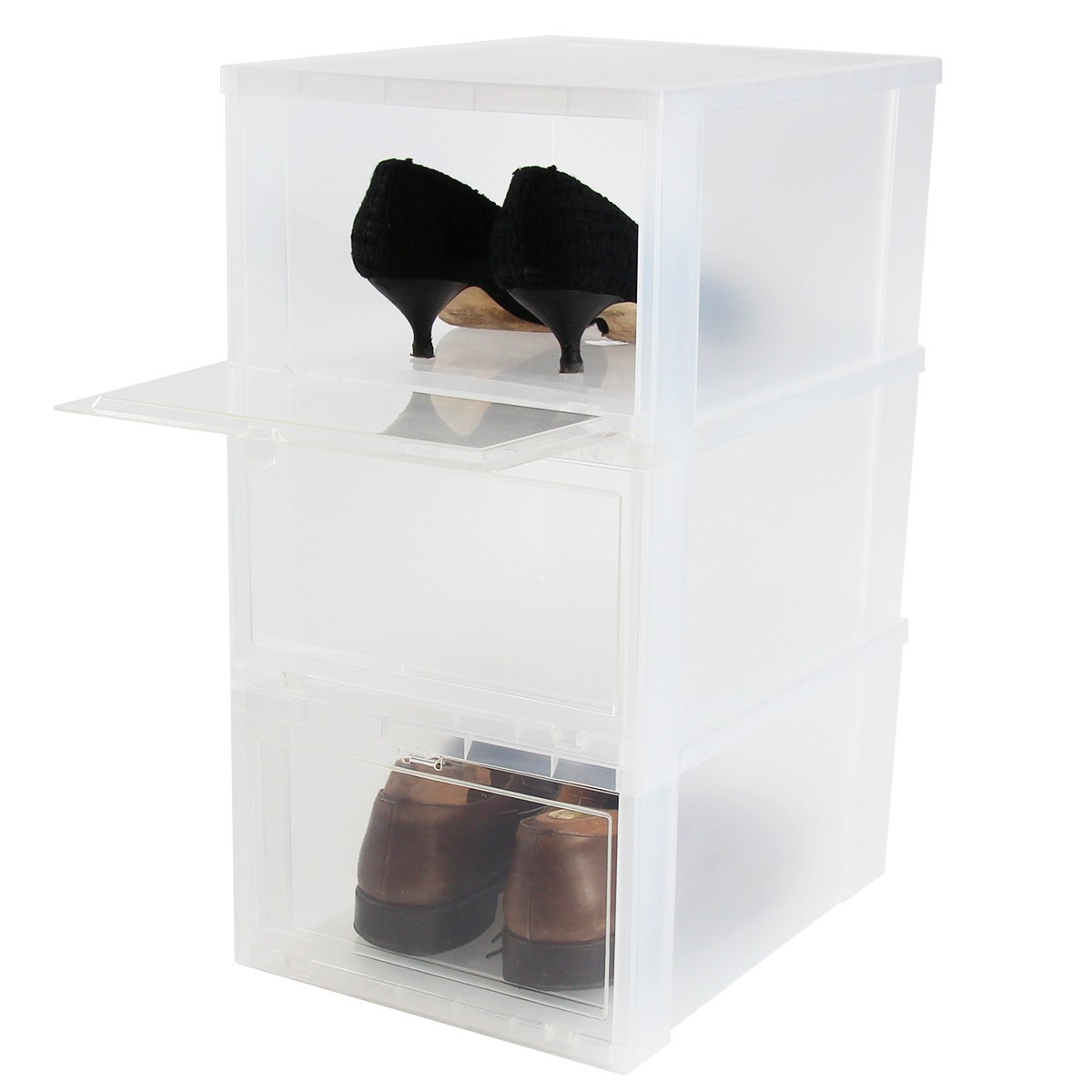 bo te chaussures en plastique rangement chaussures. Black Bedroom Furniture Sets. Home Design Ideas