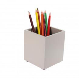 Pot à crayons en bois teinté taupe