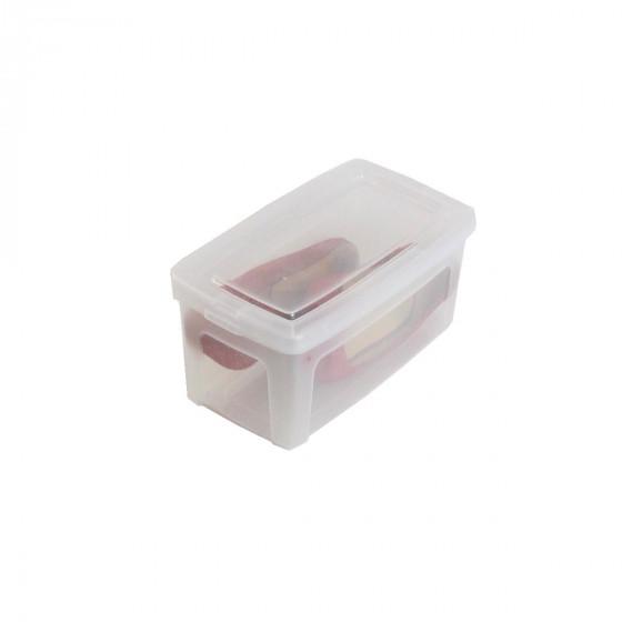 Boîte à chaussures en plastique transparent avec couvercle. (XS)