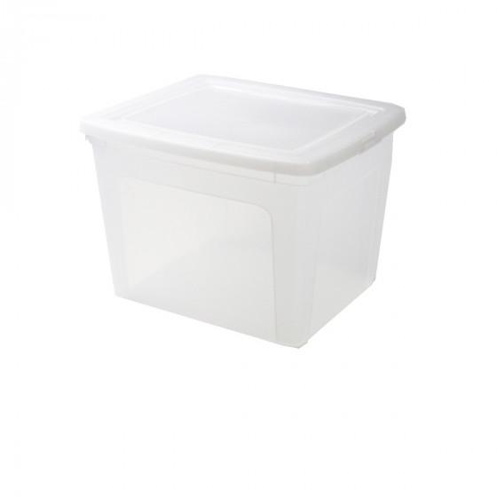 Boîte en plastique transparent avec couvercle. (L)