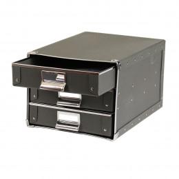 Boîte à 3 tiroirs en carton gris anthracite avec porte étiquette et poignée métalliques
