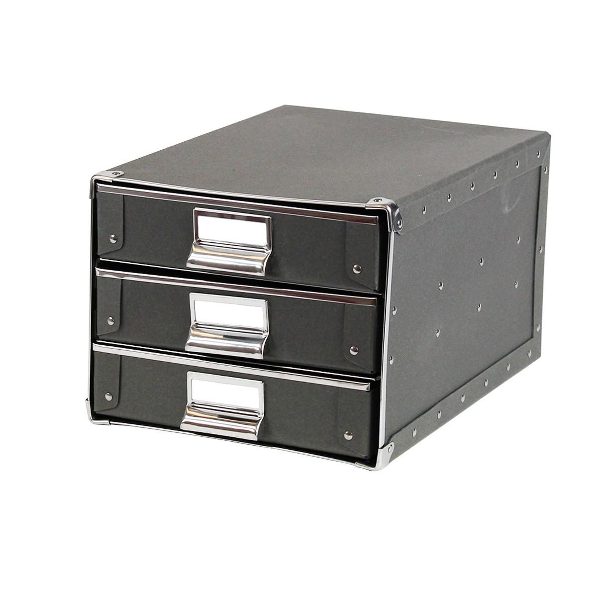 Bo te tiroirs carton gris fonc classement - Boite a outils avec tiroirs ...