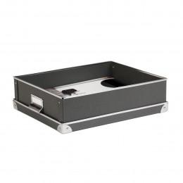 Boîte A4 en carton gris anthracite avec poignée et coins en métal