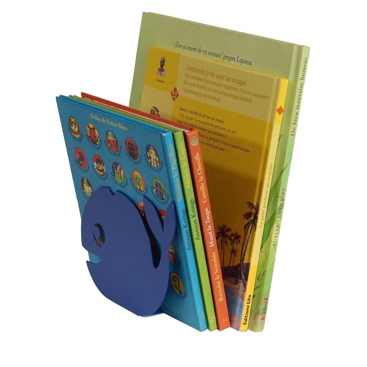 Serre-livres métal bleu - Rangement livres