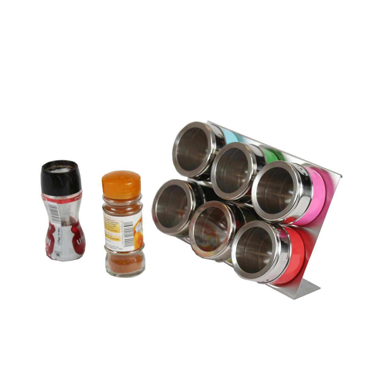 Rangement épices Aimanté: Boîtes à épices Aimantées Sur Support Inox