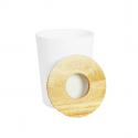 Poubelle en plastique blanc et bois d'hévéa. 3 litres