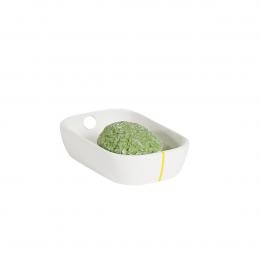 Porte-savon  rectangulaire en céramique blanche et liseré jaune