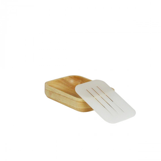 Porte-savon en bois d'hévéa et support en plastique translucide