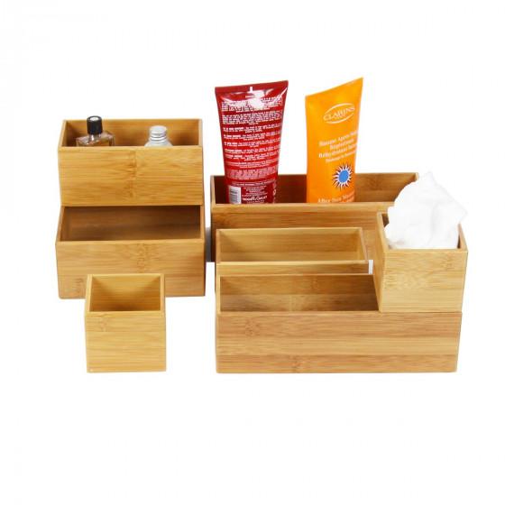 Grand organisateur de tiroirs, carré et superposable, en bambou. L