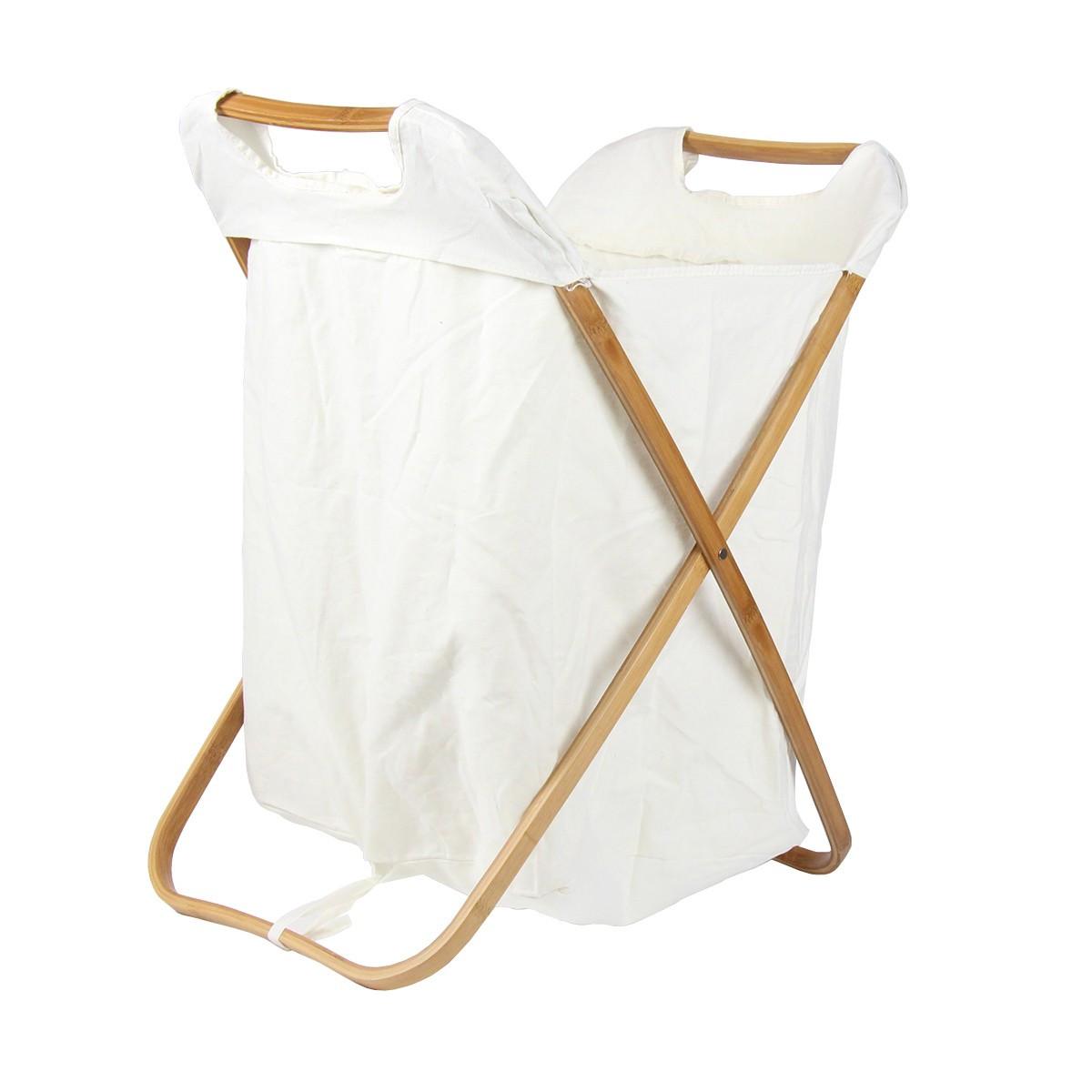 panier pour ranger le linge sale en bambou et tisu blanc livraison en point relay. Black Bedroom Furniture Sets. Home Design Ideas