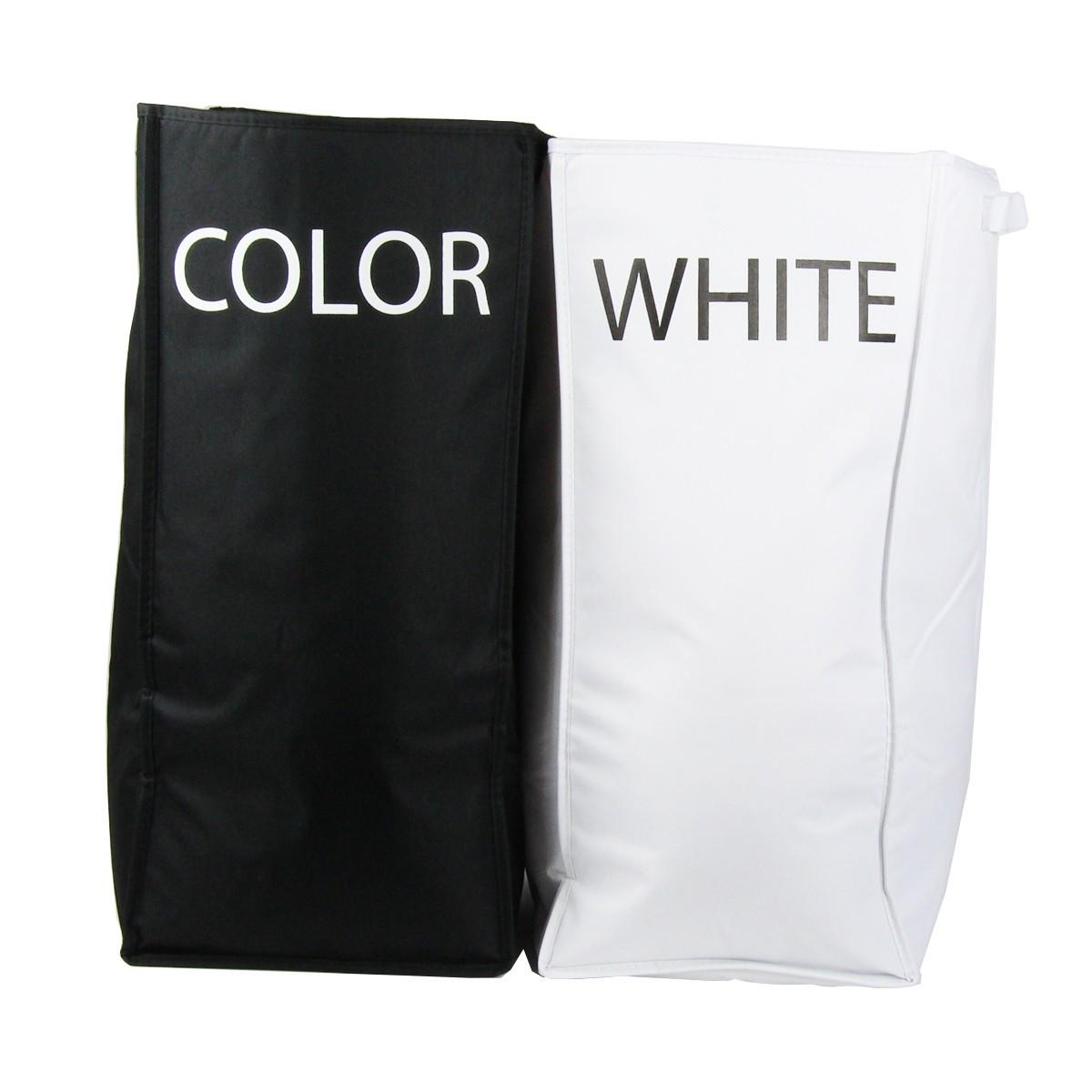 sac linge en tissu 2 compartiments. Black Bedroom Furniture Sets. Home Design Ideas