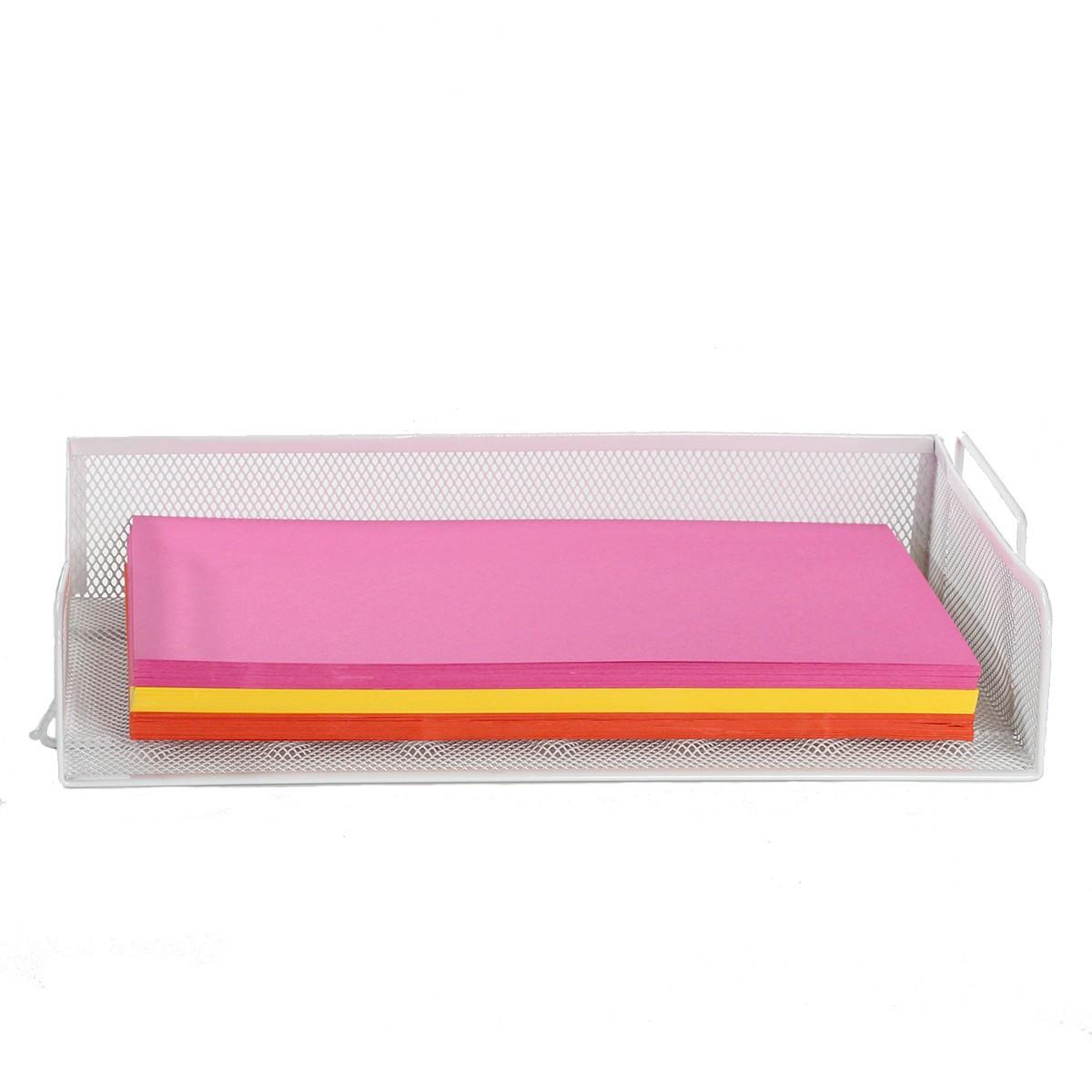 bac courrier en maille m tallique blanc rangement bureau. Black Bedroom Furniture Sets. Home Design Ideas