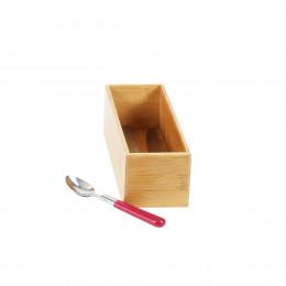 Organisateur de tiroirs, rectangulaire et superposable, en bambou. L