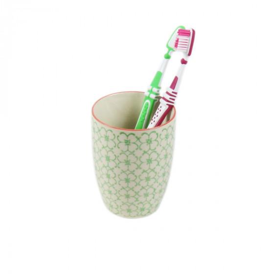 Verre à dents en céramique à motifs verts