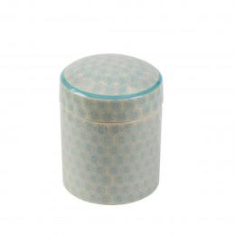Pot et couvercle en porcelaine à motifs bleus