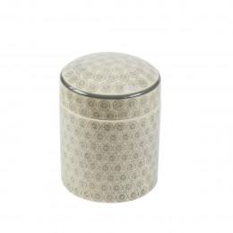 Pot et couvercle en porcelaine à motifs gris