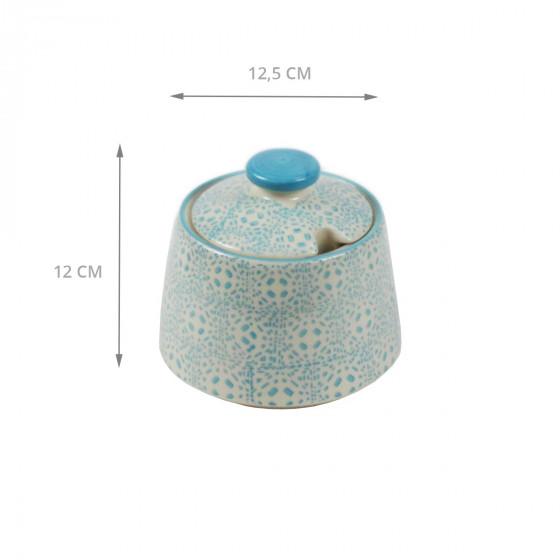 Sucrier en céramique à motifs bleus