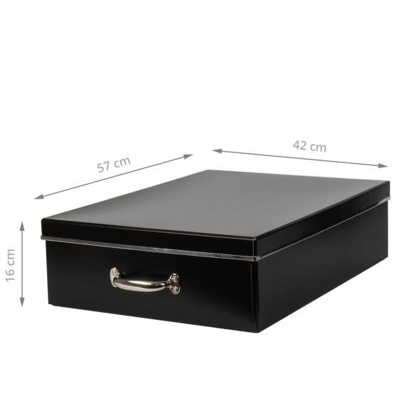Bo te en carton noir rangement sous le lit - Panier en rotin avec poignee ...