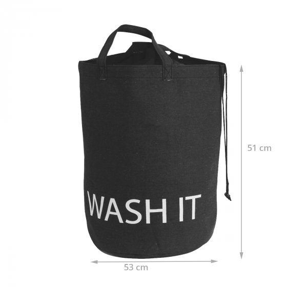 Sac à linge en tissu gris anthracite et inscription Wash it