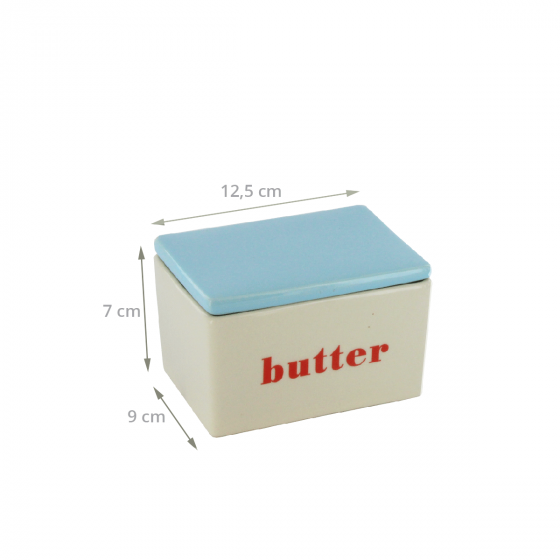 Beurrier en céramique crème avec un couvercle bleu