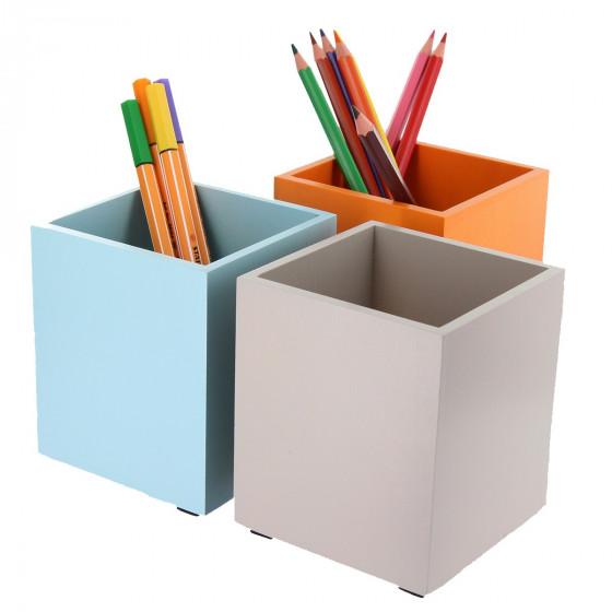 Potà crayons en bois teinté orange # Pot A Crayon En Bois