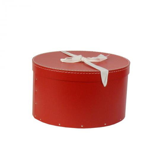 Grande boîte à chapeaux rouge avec ruban blanc (L)